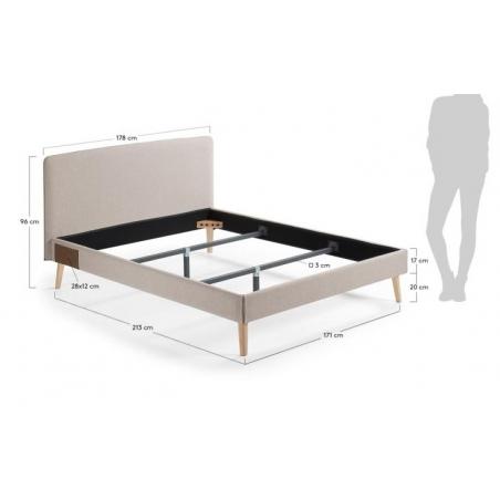 BELLA 160 posteľ svetlosivá