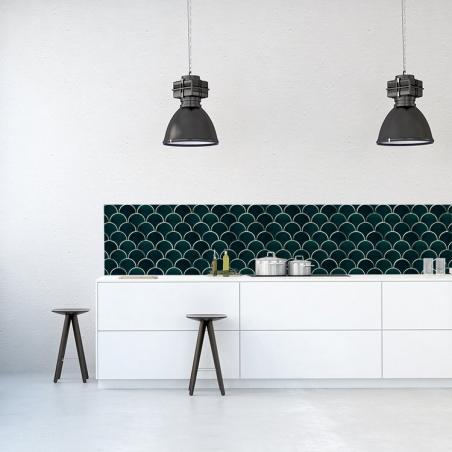 HERRINGBONE zelená kuchynská zástena