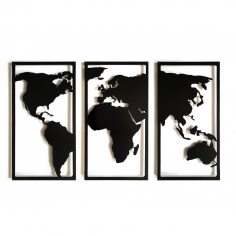 WORLD MAP TRIPTYCH 3D...