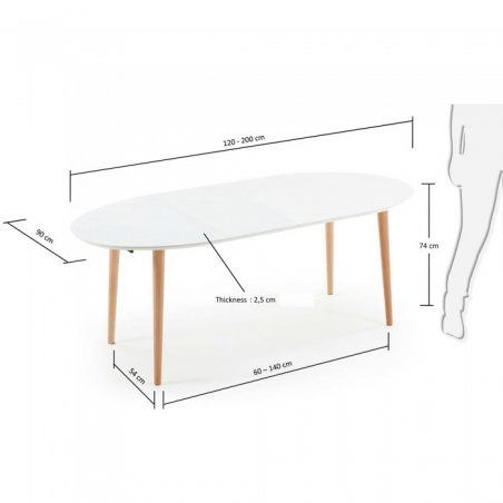 OAKY 120 WHITE rozťahovací stôl