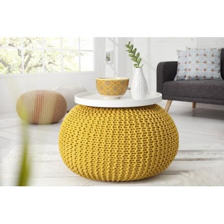 PUF pletený yellow