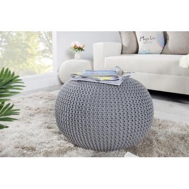 PUF pletený grey